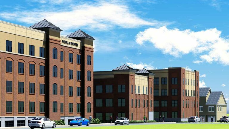 Front rendering of The Mill at Riverside apartment complex in Riverside, NJ