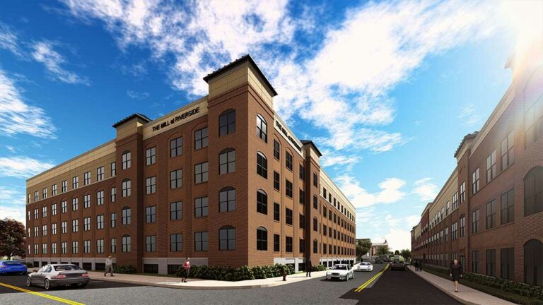 Corner rendering of The Mill at Riverside apartment complex in Riverside, NJ