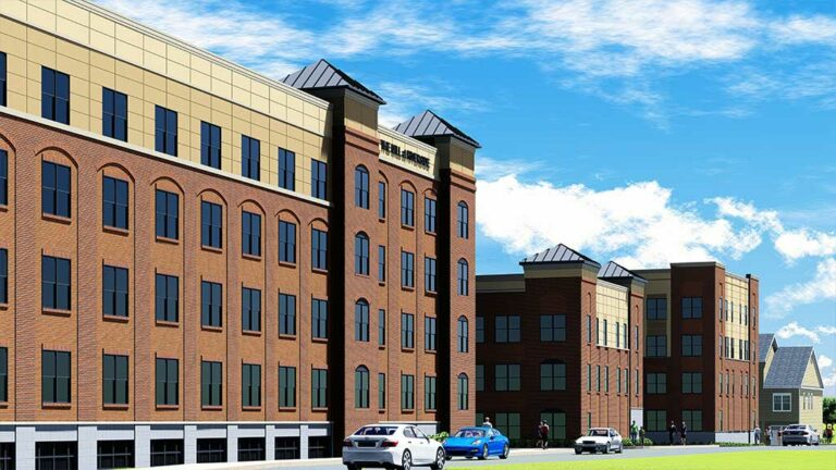 The Mill at Riverside apartment complex street view render