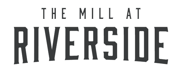 Black logo for The Mill at Riverside apartment complex with a transparent background